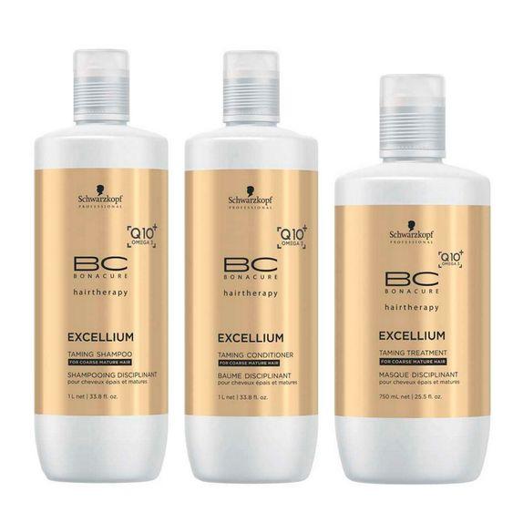 Schwarzkopf-Bonacure-Excellium-Taming-Kit-Shampoo--1000ml--Condicionador--1000ml--e-Mascara--750ml-